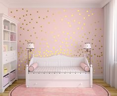 """Metallic Gold Wall Decals Polka Dots Wall Decor - 1"""" Inch, 1.5"""",2"""",2.5"""",3"""", 3.5"""", 4"""" Inches Polka Dot Wall Decal by AbakDesign on Etsy https://www.etsy.com/listing/280837812/metallic-gold-wall-decals-polka-dots"""