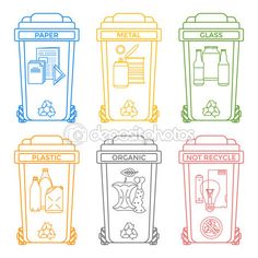 Vector various colors outline separated recycle waste bins icons labels signs white backgroun Recycling Activities For Kids, Recycling For Kids, Recycling Center, Waste Segregation, Earth Day Coloring Pages, Dinosaur Posters, First Grade Lessons, Recycle Symbol, Recycling Containers