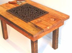 Antique Industrial Reclaimed Wood Coffee Table by BluejaysWorkshop, $535.00