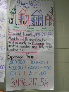 Place Value anchor chart Eliminate millions and decimal houses. Math Teacher, Math Classroom, Teaching Math, Math Math, Teaching Ideas, Teaching Decimals, Classroom Ideas, Math Subtraction, Guided Math