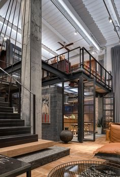 Hayloft in Kyiv, Ukraine designed by Loft Buro - Industrial Interior Design, Industrial House, Industrial Loft Apartment, Industrial Chic Decor, Industrial Architecture, Industrial Interiors, Loft Interior Design, Loft Design, Interior Styling