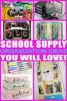 the best school supply storage and organization ideas! get the best ideas tips and tricks to keep your homework area area tidy School Supply Storage, School Organization For Teens, Organization Xiii, Homework Organization, Organizing Ideas, Organizing School, Bedroom Organization, School Supplies Tumblr, College School Supplies