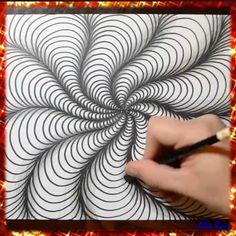 Doodle Art Drawing, Zentangle Drawings, Mandala Drawing, Spiral Drawing, Art Drawings Beautiful, Art Drawings Sketches Simple, Pencil Art Drawings, Drawing Ideas, Illusion Drawings