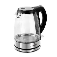 Cordless Electric Kettle Glass With LED Light Stainless Steel Lid Boiling Water Jug 1.7L