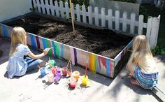 Creating a garden with children and having them take part in both the creation and the decoration beds is a great idea. This activity would work with fine motor development, colour, and would give the children a sense of ownership in the shared garden.