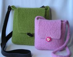 Knitting Pattern PDF - Felted Hipster Bags - hand knit felted wool - two sizes adult and child - includes tutorial on making a fabric lining. $6.95, via Etsy.