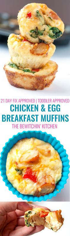 These chicken and egg muffins dont have to be just for breakfast. This 21 Day Fix approved recipe is also a delicious healthy snack, nutritious lunch and even works for a clean dinner. This recipe is also approved for 22 Minute Yummy Healthy Snacks, Healthy Muffins, Healthy Breakfast Recipes, Yummy Treats, Healthy Eating, Healthy Recipes, Recipe 21, Recipe For Mom, Egg Muffins
