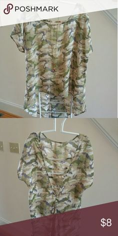 """Sheer Camouflage Top by """"Just One"""" Camouflage colors. High front, low """"V"""" back neckline with 4 cross strips. Flare pleat in back below V. Worn once in Fashion show. Tops Blouses"""