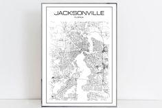 Jacksonville Print Jacksonville Map Art Jacksonville poster