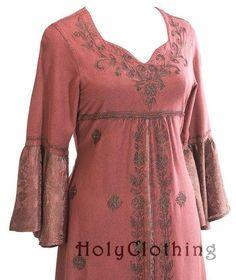 Liana Princess Neck Renaissance Medieval A-Line Gown Dress - Dresses, holyclothing.com