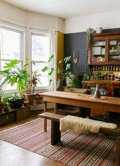 Love the light, the plants and the table with bench seating.