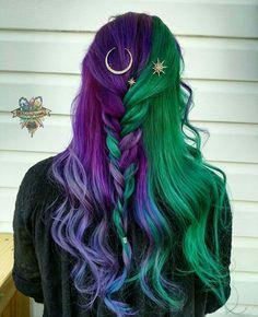 Mystical purple and green locks