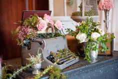 Vintage items filled with blooms   Glamorous English Garden Wedding At Laurel Hall Indianapolis   Photograph by Anya Albonetti Photography  http://storyboardwedding.com/english-garden-wedding-laurel-hall-indianapolis/