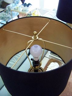 How to paint a lampshade liner with metallic paint for an elegant, rich glow. Paint: Gold Rush