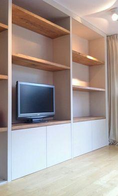 Tv kast Living Room Units, Living Room Built Ins, Living Room Storage, Home Living Room, Living Room Designs, Home Office Design, Home Interior Design, Fireplace Bookshelves, Muebles Living