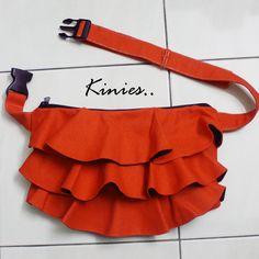 Ruffled Waist Purse in Orange - Fanny Pack / Hip Bag / Belt pouch /