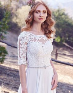 Modest wedding dress with lace sleeves | Darcy Maggie Sottero