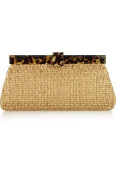 Ralph Lauren Collection|Woven-twill and tortoiseshell acetate clutch|NET-A-PORTER.COM