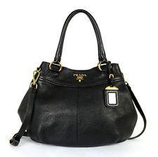 PRADA $1,450 Black Pebbled Leather VITELLO DAINO Crossbody Tote Bag