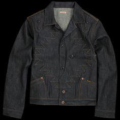 Domingo Thunderbird Jacket in Indigo Denim Fabric, Denim Jeans, Denim Shirts, Work Wear, Indigo, Leather Jacket, Mens Fashion, Cotton, Clothes