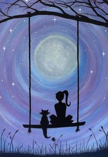 A Girl and her Cat (PRINT) A girl and her cat. Sure to capture the hearts. In this dreamy, heartfelt silhouette of a girl and her cat sitting on a swing under the majestic full moon, get lost. My cat Kickick inspires my art. She was my first experience of Painting Inspiration, Art Inspo, Cat Sitting, Sitting Girl, Painting & Drawing, Swing Painting, Moon Painting, Night Sky Painting, Heart Painting