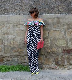 Black and white Polka Dot dress  maxi dress by cherryblossomsdress