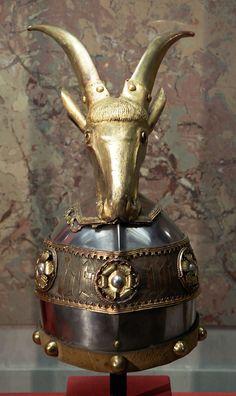Decorative helmet of Gjergj Kastrioti Skanderbeg, c. 1460. Bought for Skanderbeg by Archduke Ferdinand II.