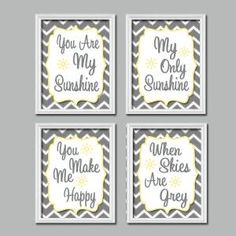 Grey Yellow Chevron Pattern You Are My Sunshine Quote Nursery Song Print Artwork Set of 4 Prints Wall Decor Art Picture by aurelia