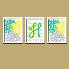 Yellow Teal Turquoise Grey Monogram Flower Burst Letter Initial Set of 3 Trio Prints Chevron Wall Decor Abstract Art Bedroom Picture Nursery via Etsy