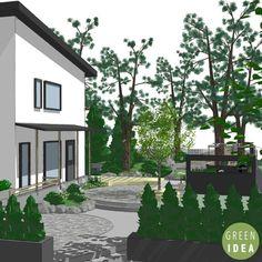 Narrow garden on a slope. Nordic garden design, designed by Green Idea