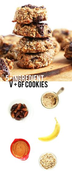 5 Ingredient Vegan + GF Cookies! So healthy, so easy, so delicious |