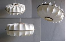 White plastic and wood hanging lamp, ø 42, H 18cm.