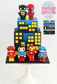 Could do something like this with Lego Spiderman Beautiful Cakes, Amazing Cakes, Mini Party, Avenger Cake, Superhero Cake, Batman Spiderman, Superman, Biscuit, Cakes For Boys