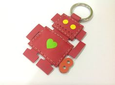 Leather Keychain  Richard the Robot leather charm by leatherprince, $20.90