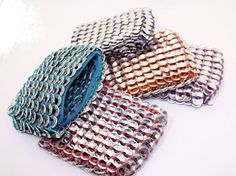 Recycled aluminum pop top make-up bag [I bet I could totally figure out how to make those!] hmmmmm