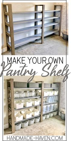 woodworking diy - Most beautiful - DIY pantry shelf . - woodworking diy – Most beautiful – DIY pantry shelf # Pantry - Diy Storage Shelves, Easy Shelves, Craft Shelves, Pantry Shelving, Shelving Ideas, Pantry Storage, Storage Hacks, Diy Storage Furniture, Furniture Ideas