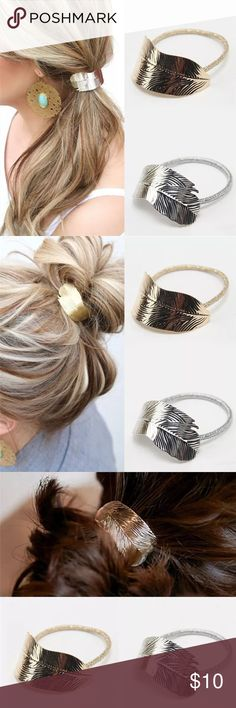 A🖐🏼🌟 Feathered Ponytail Holder! NEW! In gold and silver plated. Listing is for one. More coming soon! Boutique Accessories Hair Accessories