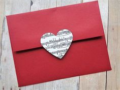 Heart Stickers Music Note Envelope Seals Valentine's Day Sheet Music Weddings