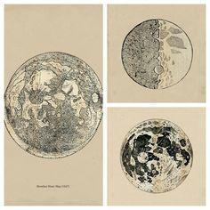 SÉRIE de dessins de la lune astronomie Print par TheCuratorsPrints