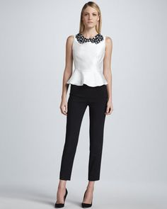 Sleeveless Embellished Flounce Top & Slim Ankle Trousers by Raoul at Neiman Marcus.