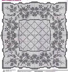 @nika Filet Crochet Charts, Crochet Doily Patterns, Afghan Crochet Patterns, Crochet Doilies, Crochet Stitches, Cross Stitch Patterns, Knit Crochet, Mantel Redondo, Fillet Crochet