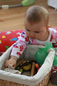 Ideas of what to put into a sensory basket for babies to explore! :)