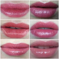 Top row (Left) Mac Mineralize Rich Lipstick in Grande Dame (Right) Mac Cremesheen in Hot Gossip Middle row (Left) Mac Lustre finish in See Sheer (Right) Mac cremesheen in On Hold Bottom row (Left) Rimmel Apocolips in Celestial (Right) Stila lip glaze in Sugar Plum