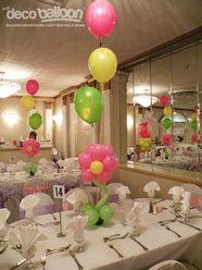 35. Short Flower Balloon Centerpiece