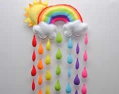 Rainbow and Raindrop mobile/wall hanging Bright by RazzleDazzle4U