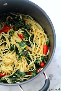 Kale and Feta One Pot Pasta - Healthy, quick and easy pasta dinner with Kale and Feta Cheese.