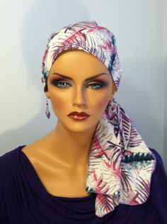 Pre-Tied 'Jessica' Scarf - Purple Ferns a Cancer, Chemo, Alopecia Hat, Scarf, pre-tied head cover for women with hair loss. by InspirationalHeadCov on Etsy