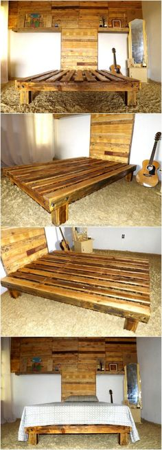 How about an idea which covers the overall room? Obviously it will look great, so here you can see the upcycled wood pallet bed with wall art headboard with the space to place the decorative items. It is a good idea because it saves the space for placing the decorative items, but allows adorning the room in a unique way.