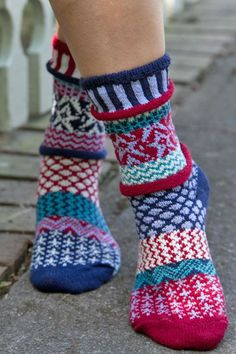 I love the mismatched whimsy of these socks! Stars & Stripes Crew Socks by Solmate.