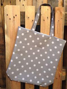 Grey and white polka dot tote by Rainy Lain